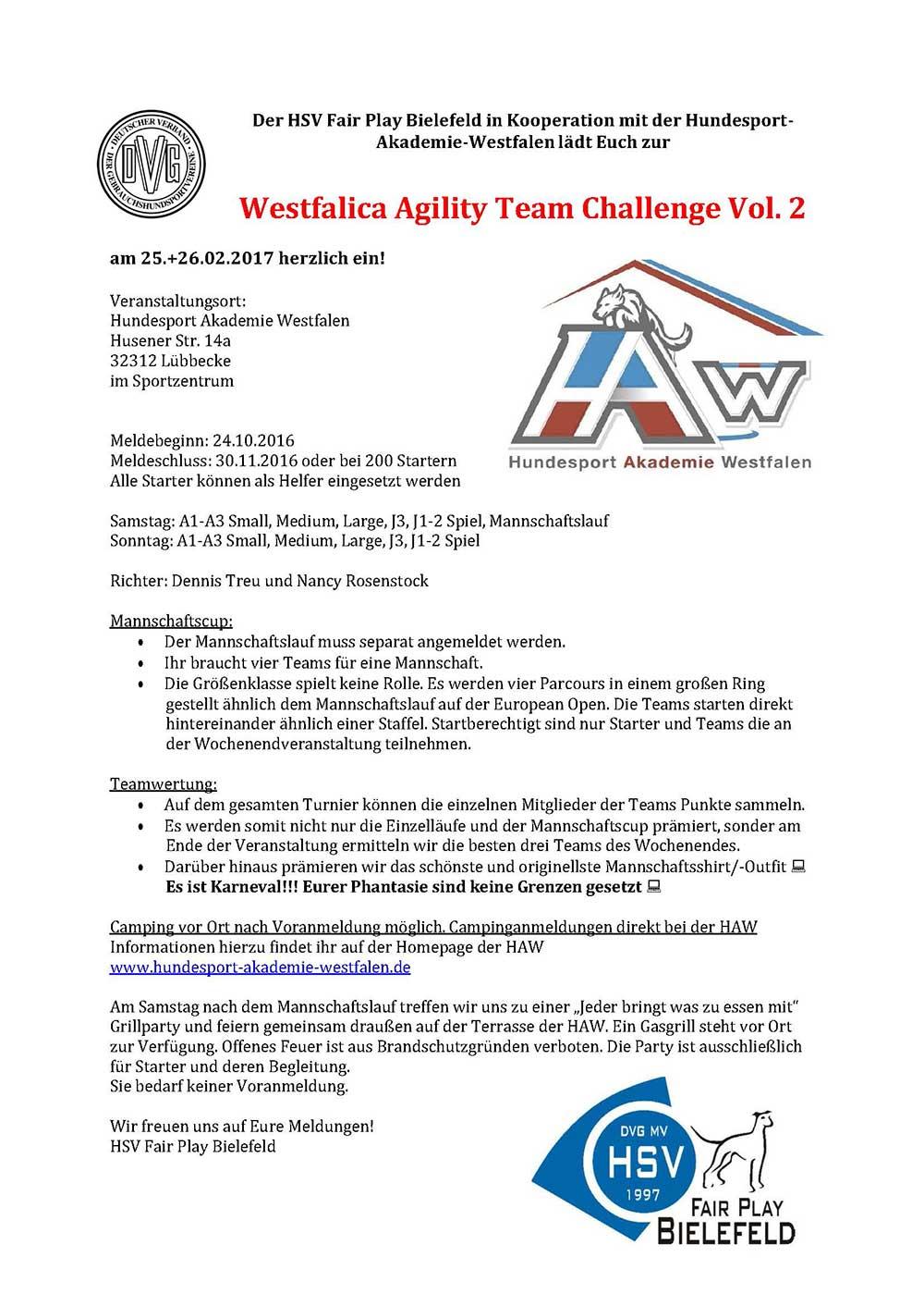 Westfalica Agility Team Challenge Vol. 2 @ Hundesport Akademie Westfalen   Lübbecke   Nordrhein-Westfalen   Deutschland